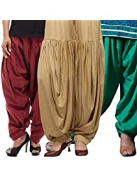 ROOLIUMS ® (Brand Factory Outlet) Punjabi Patiala Salwar Combo 3 - Free Size (Maroon,Beige,Light-green)