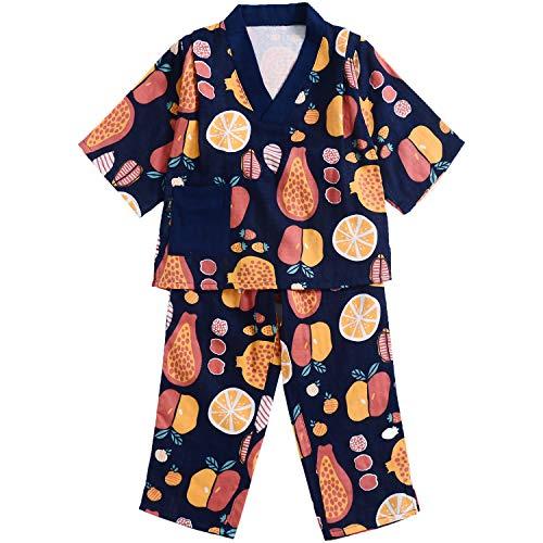 Flyish Kids Pyjamas Kinder Sommer Nachtwäsche Fruchtmuster Jungen Nachtwäsche 2 Stück Set Baumwolle weich Alter 2 bis 12 Jahre - Baumwolle Zwei Stück Pyjama Set