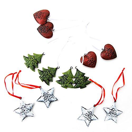 �nger in rot weiß grün Weihnachtsanhänger BAUM HERZ STERN rustikal vintage nostalgisch mit Schnur Baumschmuck Christbaumschmuck aus Blech zum Aufhängen an Weihnachten ()