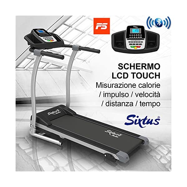 Sixtus Tapis Roulant Elettrico Pieghevole, Bluetooth, App KINOMAP, 12 Km/h, Sensore Cardiaco, Tappeto Ammortizzato… 2 spesavip