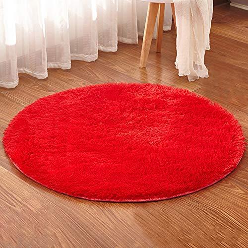 Alfombra Shaggy de Redonda Antideslizante Suave Alfombras Salón Dormitorio Sofá Rojo Diámetro 200CM