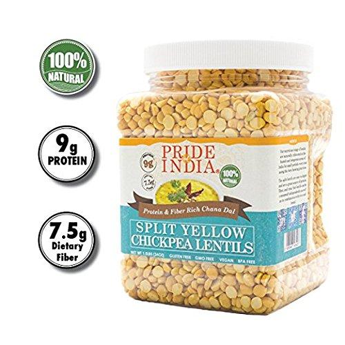 Pride Of India indian Split gelbe Kichererbse Linsen Protein & ballaststoffreiche Chana dal, 3 Pfunde jar