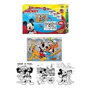 MICKEY MOUSE- Puzzle 2en1 24 Piezas para Colorear (Factory 1)