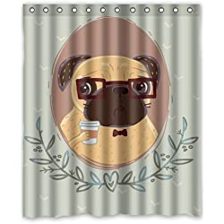 Pug Hipster with Cup of Coffee Custom Shower Curtain 60'(w)x72'(h)