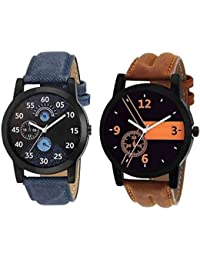 JK Round Black Leather Analog Watch For Men & Boys (L02LO1,Multicolor)