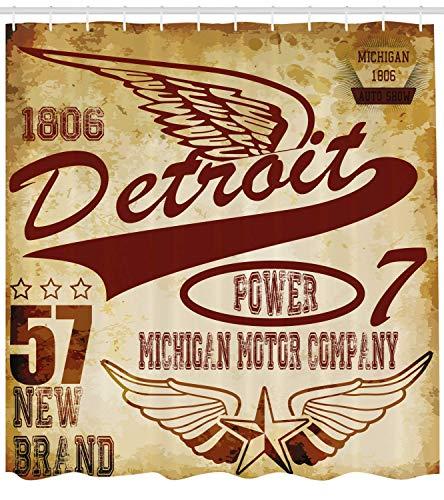 Nyngei Detroit Duschvorhang Vintage Elements Michigan Company Freie Flügel Transport Auto Show Themen Stoff Badezimmer Dekor Set mite hellgelb