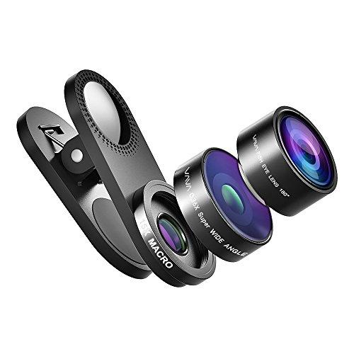 Fisheye VAVA Fischauge Objektiv Lens Set Handy Clip On Kamera Adapter (180 Grad Fisheye Objektiv, 15x Macro Objektiv, 0,36x Weitwinkelobjektive)