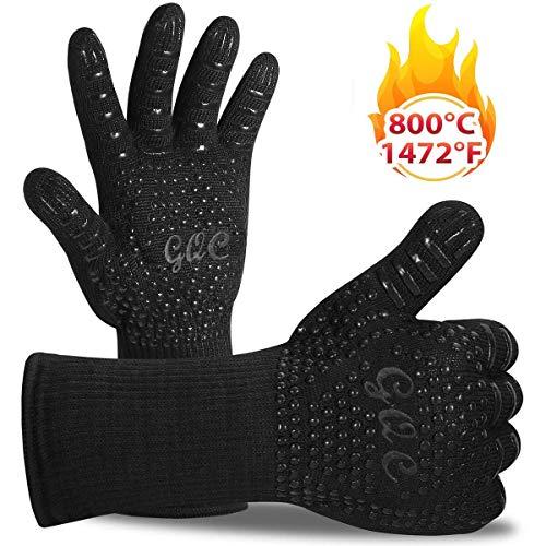 Grillhandschuhe, GQC Ofenhandschuhe BBQ Handschuhe Feuerfest Kochhandschuhe Hitzebeständig bis zu 800℃ Rutschfeste Silikon Grill Handschuh für Kochen Backen Schweißenund Feuerplatz (Schwarz)