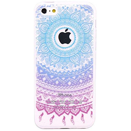 iPhone 5c Hülle, JIAXIUFEN Neue Modelle TPU Silikon Schutz Handy Hülle Case Tasche Etui Bumper für Apple iPhone 5C - Blue Purple Tribal Mandala