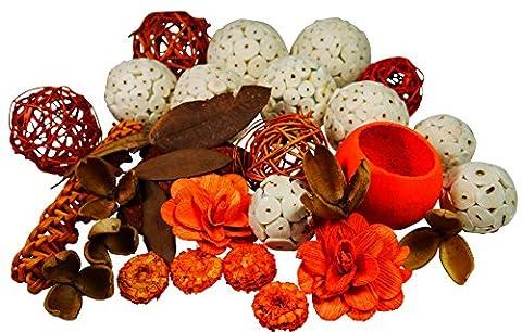 khevga Decoration Set Autumn Mix Rattan Ball Orange