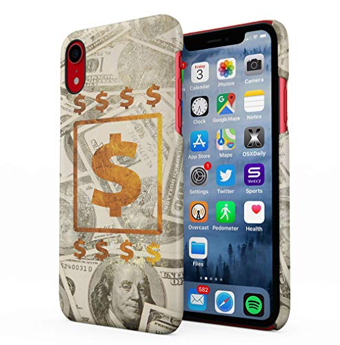 100 Dollar Bills Cash Gold Apple iPhone XR SnapOn Hard Plastic Phone Protective Fall Handyhülle Case Cover