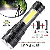 LED Taschenlampe 1500 Lumens, 4 Modi Zoombar Wasserdicht XM-L T6 LED + COB Taschenlampe Set mit 18650 Batterie