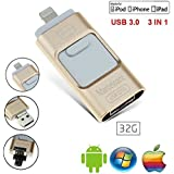 IOS USB Flash Drives For Iphone 32GB [3-in-1] Lightning OTG Jump Drive, Marceloant External Micro USB Memory Storage Pen Drive, Encrypted Flash Memory Stick For IPhone, IPad, IPod, Mac, Android And PC