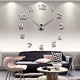 Moderne Mute DIY Frameless Große Wanduhr 3D Spiegel Aufkleber Metall Big Uhren Home Office Dekorationen (Silber-42)