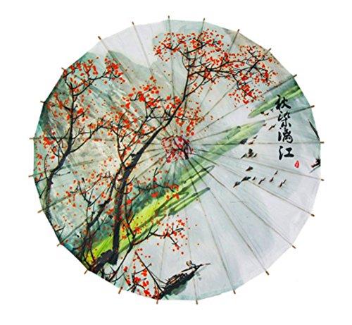 GODHL Bambus chinesische orientalische Regenschirm Sonnenschirm klassische Dance Umbrella Plum Blossom