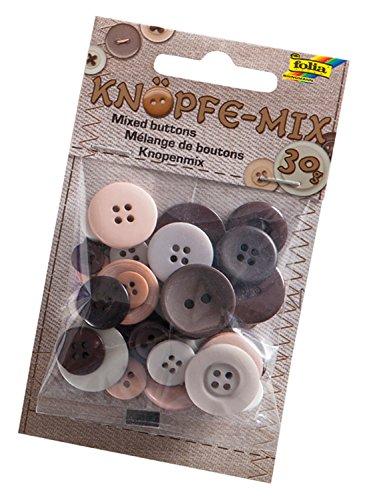 folia 12896 - Knöpfe - Mix, Ton in Ton Mix, braun, ca. 30 g, sortiert in verschiedenen Größen und Farben - ideal zum Basteln, Nähen und für Scrapbooking