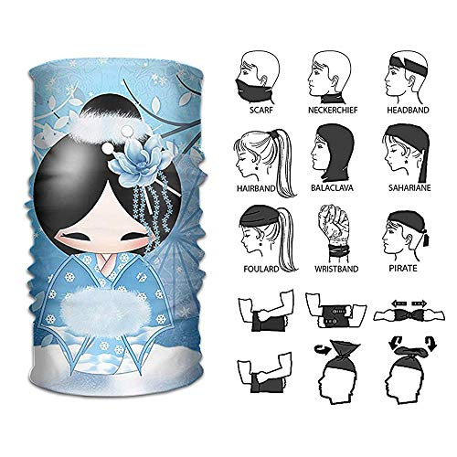Jolly2T Headband Japanese Art Kokeshi Doll Outdoor Multifunctional Headwear 16 Ways to Wear Your Magic Headwear Scarf -