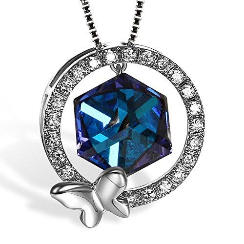 Cupimatch Damen Zirkon Rund Kreis Schmetterling Anhänger Halskette mit Kubische Kristallen von SWAROVSKI Elemente , blau (Halloween Kostüme Vier Elemente)