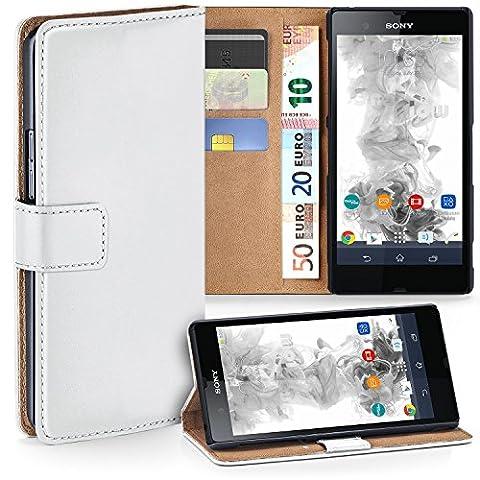Sony Xperia Z Hülle Weiß mit Kartenfach [OneFlow Wallet Cover] Handytasche Flip-Case Handyhülle Etui Kunst-Leder Tasche für Sony Xperia Z Case Book Schutzhülle