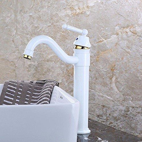 YSRBath Moderne Waschbecken Waschtischarmatur Antike Weiße Farbe Backen Warme und Kalte Rotary Gesicht Weiß und Gold Mischbatterie Bad Küche Wasserhahn Badarmatur