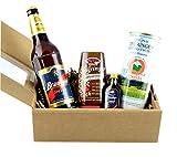 Thüringer Spezialitäten Geschenkbox mit original Thüringer Rostbratwurst, Senf, Bier, Gewürz-Bitter und Servietten