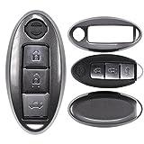 mt-key Auto Schlüssel Cover Hülle Nissan Qashqai GT-R Juke 370Z Micra Pulsar/Farbe: Metallic Grau