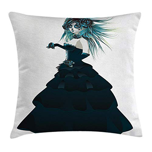 ushion Cover, Sugar Skull Girl with Prom Dress Roses in Hand Gothic Halloween Lady Zombie Vampire, Decorative Square Accent Pillow Case, 18 X 18 inches, Teal White ()