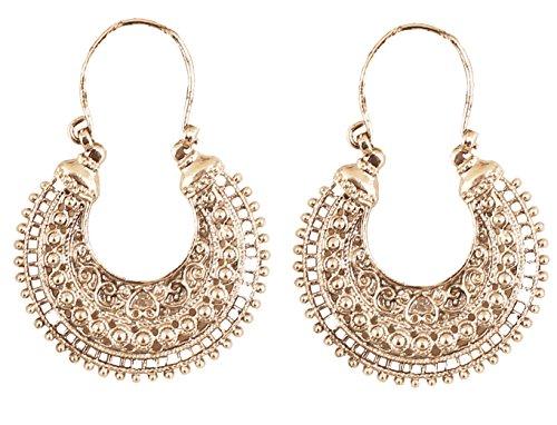 Touchstone orecchini di design a tema chandbaali luna boho chic tribale indiano bollywood desiderio per donna bianco