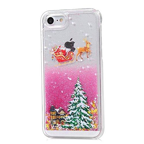 iPhone 7 Hülle, Yokata PC Transparent Hart Case mit Tannenbaum Motiv 3D Flüssigkeit Liquid Schutzhülle Bling Glitzer Diament Durchsichtig Rose Red