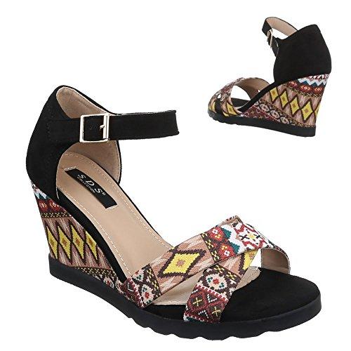 Damen Schuhe, 1410-KL, SANDALETTEN PUMPS KEIL Schwarz