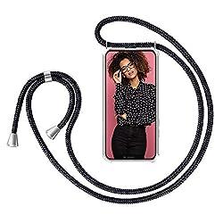 """ZhinkArts Handykette kompatibel mit Apple iPhone XS Max - 6,5"""" Display - Smartphone Necklace Hülle mit Band - Schnur mit Case zum umhängen in Schwarz"""