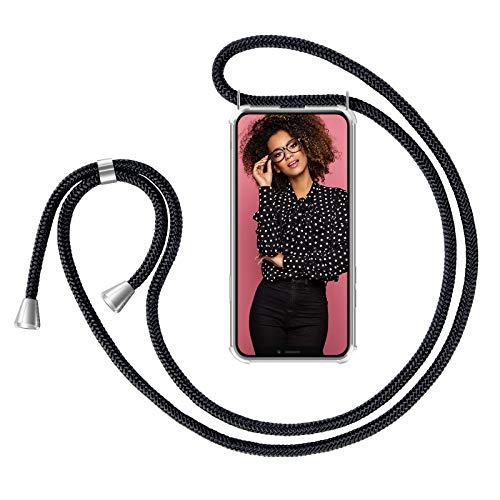 """Zhinkarts Handykette kompatibel mit Apple iPhone 11-6,1\"""" Display - Smartphone Necklace Hülle mit Band - Schnur mit Case zum umhängen in Schwarz"""