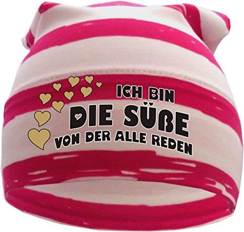 gestreifte Beanie Sommerfarben (Farbe pink-weiss) (Gr. 1 (56-74) Ich bin die Süße