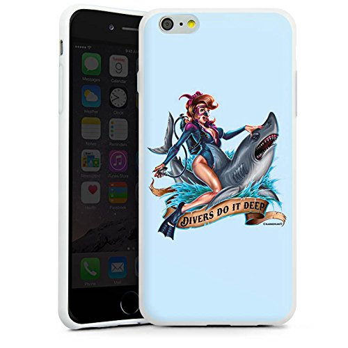 Apple iPhone X Silikon Hülle Case Schutzhülle Hai Pin up Tattoo Silikon Case weiß