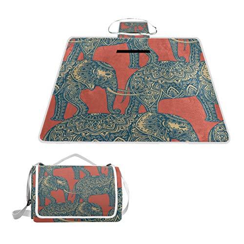 TIZORAX - Manta de Picnic con diseño de Elefantes Indios, Impermeable, Plegable,...