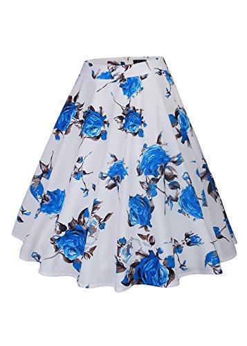 femminile a vita alta floreali / Polka Dots Stampa gonna a pieghe Midi Skater Skirt Rose-blu