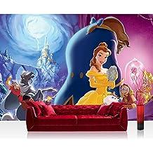 Papel Pintado Fotográfico Premium Plus fotográfico pintado–cuadro de pared–Papel pintado Disney La bella y la bestia cartoons Niños niña multicolor–No. 1243, carbón, Fototapete 368x254cm   PREMIUM Blue Back
