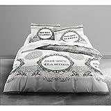 Today 013031 Secret Garden Parure de lit avec Housse de couette/2 Taies d'oreiller Coton Blanc/Gris 220 x 240 cm