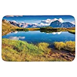 TRAzz Rectangular Area Rug Mat Rug,Lake House Decor,Summer Sunny Morning on The Sassolungo Langkofel and Sella Group Valley Gardena,Green Blue,Home Decor Mat with Non Slip Backing