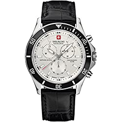 Swiss Military Flagship Chrono Men's Quartz Watch with White Dial Chronograph Display and Black Leather Strap 6-4183.04.001.07