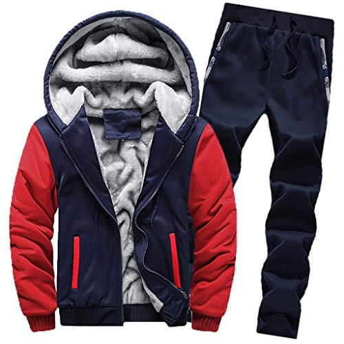 ♚ Conjunto de chándal para Hombre, para Hombre Chándal Warm Fleece Sport Hooded Sweatshirt Coat Hoodies + Pants Sweat Suit Absolute