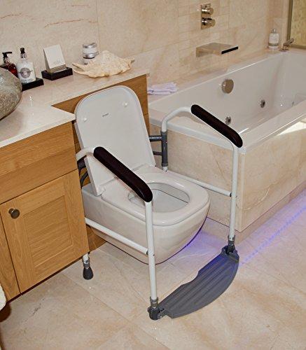 Wc-arm-schienen (Buckingham Foldeasy Tragbarer, faltbarer WC Sicherheit Rahmen mit Fußstütze und gepolsterte Unterstützung Arm Bars zu Hilfe mit stehend. Höhe verstellbar über WC-Surround–geeignet zur Verwendung mit den meisten Toiletten (gültig für MwSt. Relief in Großbritannien))