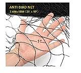 Bokning 7.6M x 15M Vogel Netz Schwarz Anti Vogelnetz Gartennetz Feinmaschig UV-stabilisiert Vogel Netz für Balkon (Lochgröße 2.5cm)