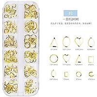 240unidades, Nail Pegatina 3d, Nail Art metal Pegatinas DIY uñas decoración oro 1