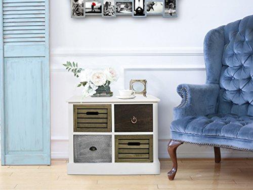 Legno Bianco Vintage : Rebecca mobili mobiletto cassettiera cassetti legno bianco