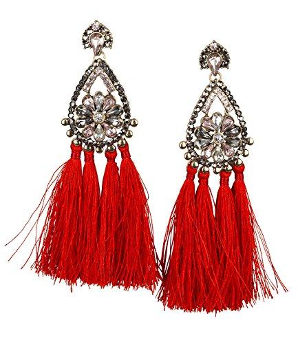 SIX Damen Tassel Ohrringe Rot, Orientalischer Statement Ohrschmuck (747-957)