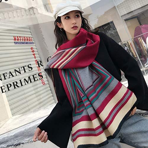 ZLULU Schal Damen Herbst Winterdouble Sided Geometrie Große Größe Schal Für Frauen Warme Verdickung Schal Schal
