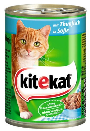 Kitekat Katzenfutter Dose mit Thunfisch in Soße, 2er Pack (12 x 400 g)