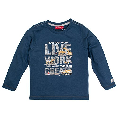 SALT AND PEPPER Jungen Langarmshirt Longsleeve Huge Machine Work, Blau (Nordic Blue Melange 476), 104 (Shirt Long Work Baumwolle Sleeve)