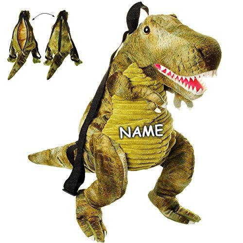 alles-meine.de GmbH 3-D Rucksack & Kuscheltier - XL groß -  Dinosaurier - Tyrannosaurus Rex - grün  - inkl. Name - Plüsch Kinderrucksack / Plüschtier - für Kinder & Erwachsene .. (Ist Groß Bei Rex Wie)